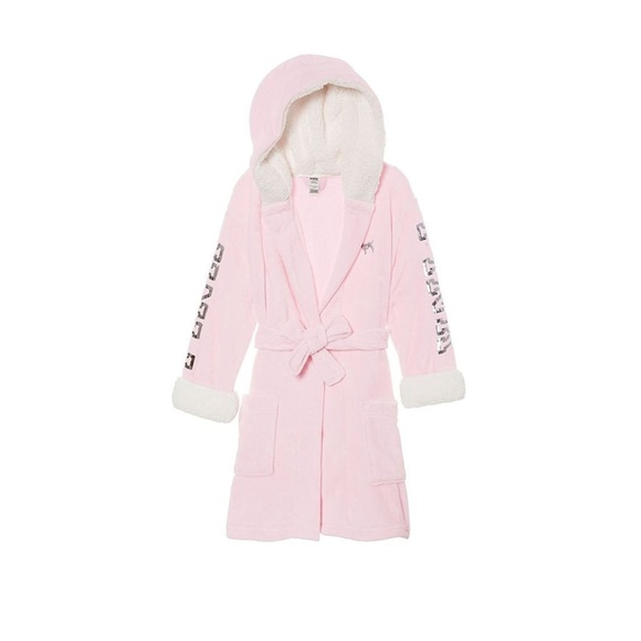 Victorias Secret Pink Cozy Sherpa Sequin Bling Plush Hooded Robe M//L NWT Large